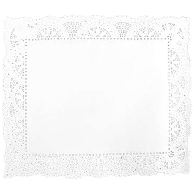 Serwetka dekoracyjna, prostokątna, biała, 25 x 30 cm, 12 szt