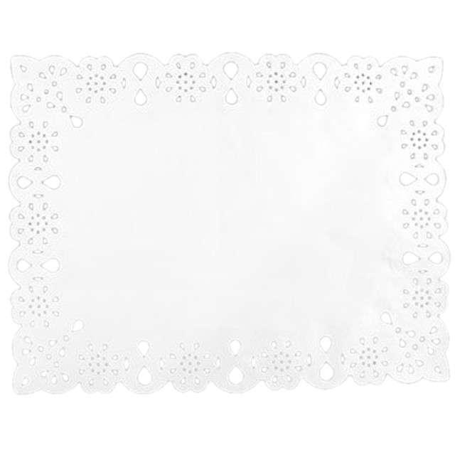 Serwetka dekoracyjna, prostokątna, biała, 30 x 40 cm, 12 szt