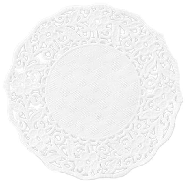 Serwetka dekoracyjna, okrągła, biała, 11 cm, 50 szt