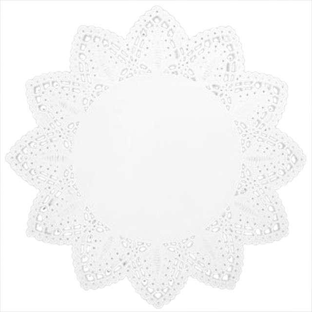 Serwetka dekoracyjna, okrągła, biała, 20 cm, 100 szt