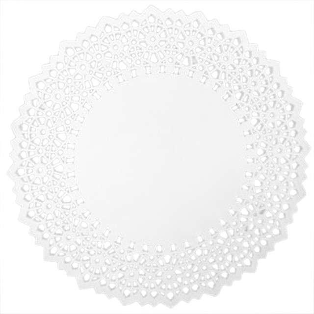 Serwetka dekoracyjna, okrągła, biała, 25 cm, 12 szt