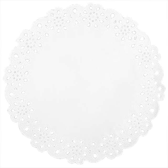 Serwetka dekoracyjna, okrągła, biała, 27 cm, 12 szt