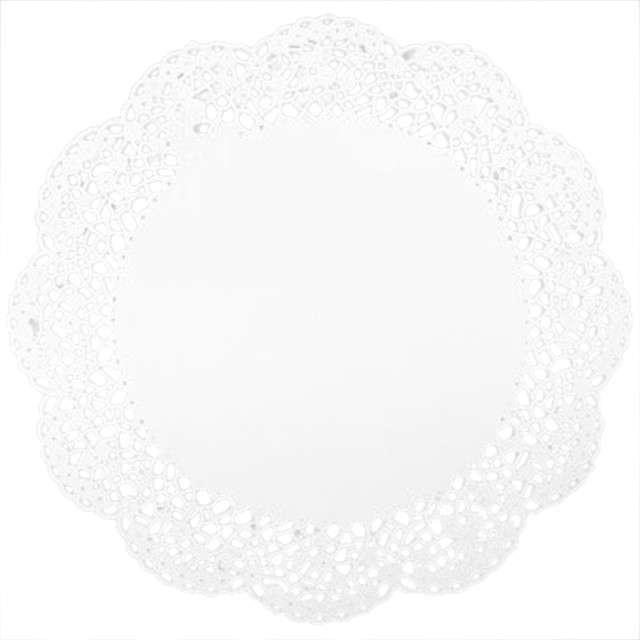 Serwetka dekoracyjna, okrągła, biała, 30 cm, 12 szt