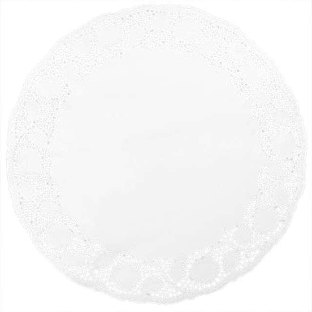 Serwetka dekoracyjna, okrągła, biała, 33 cm, 12 szt