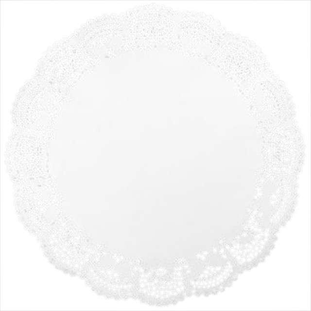 Serwetka dekoracyjna, okrągła, biała, 36 cm, 12 szt