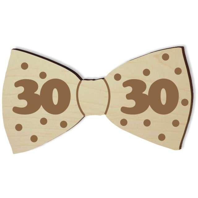 """Mucha z drewna """"Urodziny 30"""", 10 cm"""