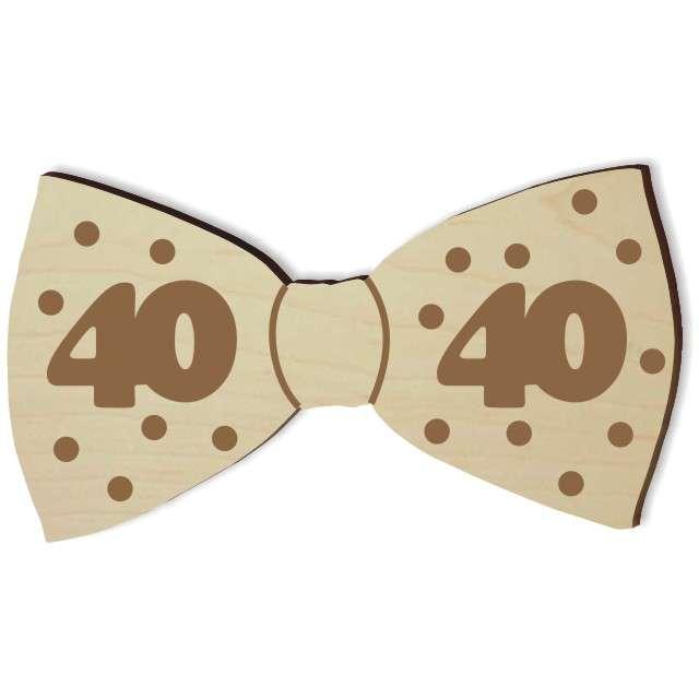 """Mucha z drewna """"Urodziny 40"""", 10 cm"""