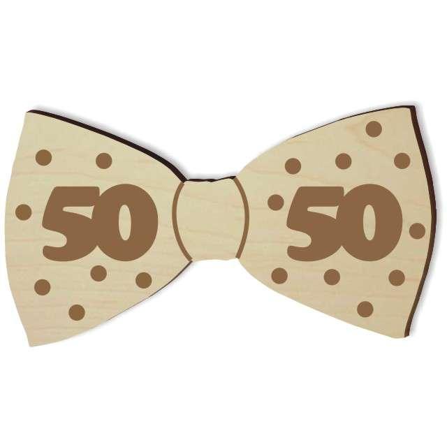 """Mucha z drewna """"Urodziny 50"""", 10 cm"""