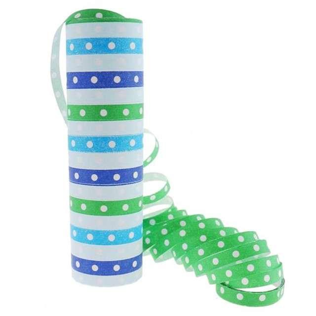 """Serpentyna papierowa """"Groszki"""", niebiesko-zielona"""