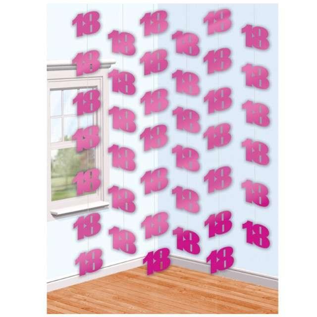 """Dekoracja wisząca, """"18"""", AMSCAN, różowa, 6 x 2,1 m"""