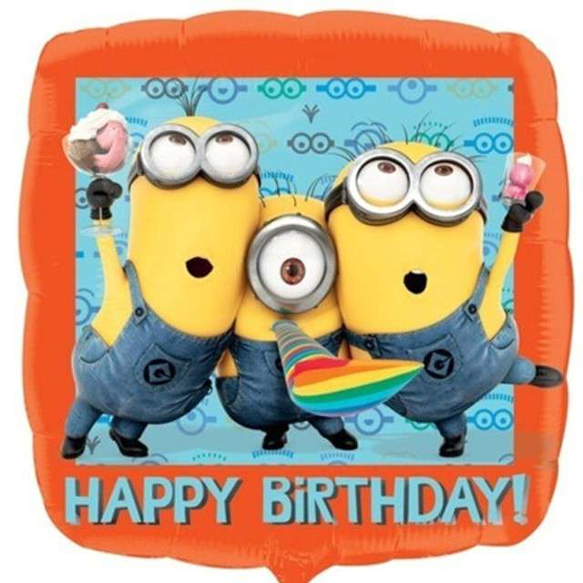 Balon foliowy Minions Happy Birthday AMSCAN 18 SQR