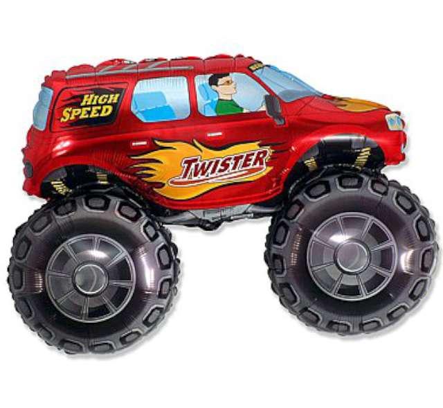 """Balon foliowy """"Samochód Twister"""", czerwony, FLEXMETAL, 38"""" SHP"""