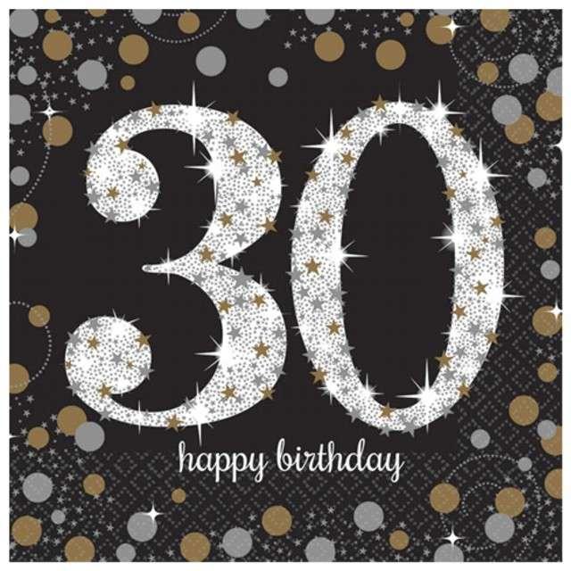 """Serwetki """"30 Urodziny - Sparkling Celebrations Gold"""", AMSCAN, 33 cm, 16 szt"""