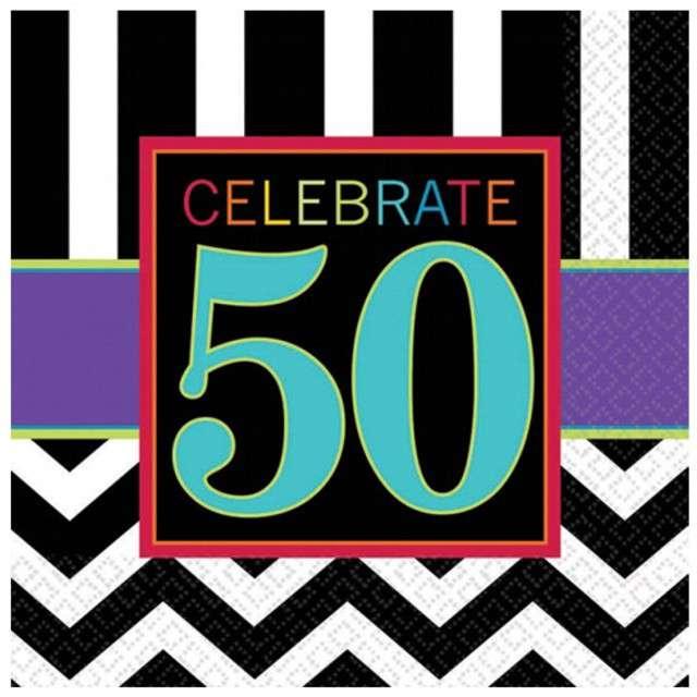 """Serwetki """"50 urodziny Chevron Birthday"""", 33 cm, 16 szt"""