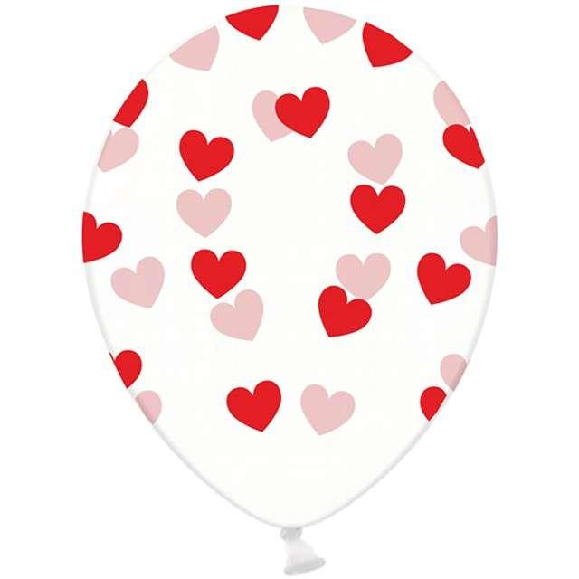 "Balony 14"", ""Serduszka"", STRONG, transparent / czerwone, 6 szt"
