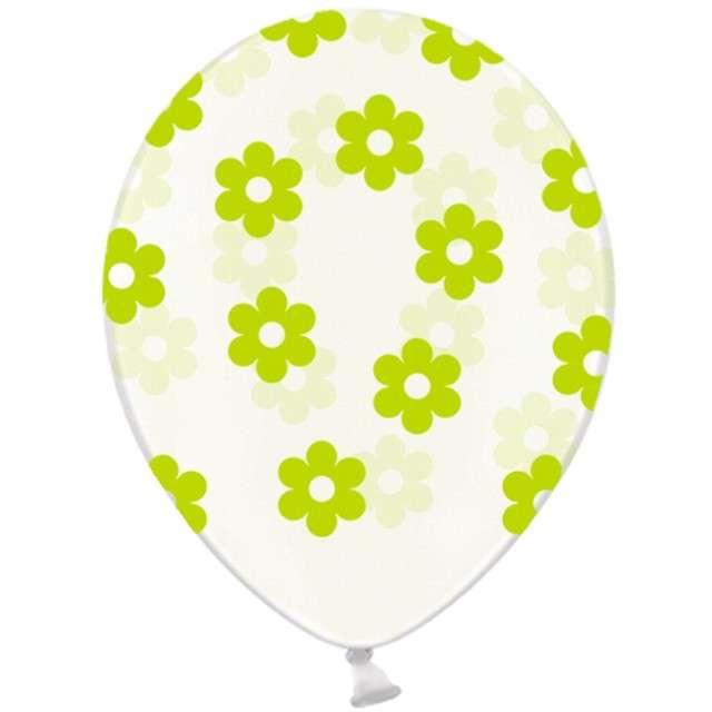 """Balony 14"""", """"Kwiatki"""", STRONG, transparent / zielone, 6 szt"""