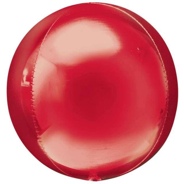 """Balon foliowy """"Kula"""", czerwona, AMSCAN, 16"""" ORB"""