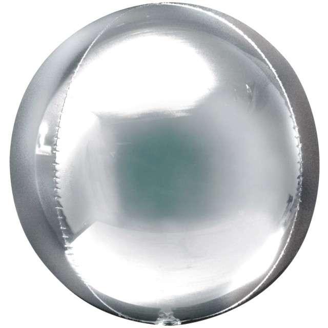 "Balon foliowy ""Kula"", srebrna, AMSCAN, 16"" ORB"