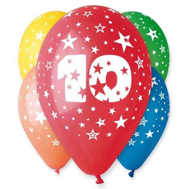 """Balony 12"""", """"Liczba 10"""", GEMAR, pastel mix, 5 szt"""