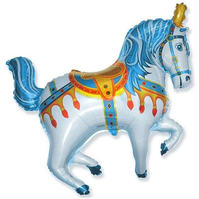 """Balon foliowy """"Koń cyrkowy jednorożec"""", niebieski, FLEXMETAL, 39"""" SHP"""