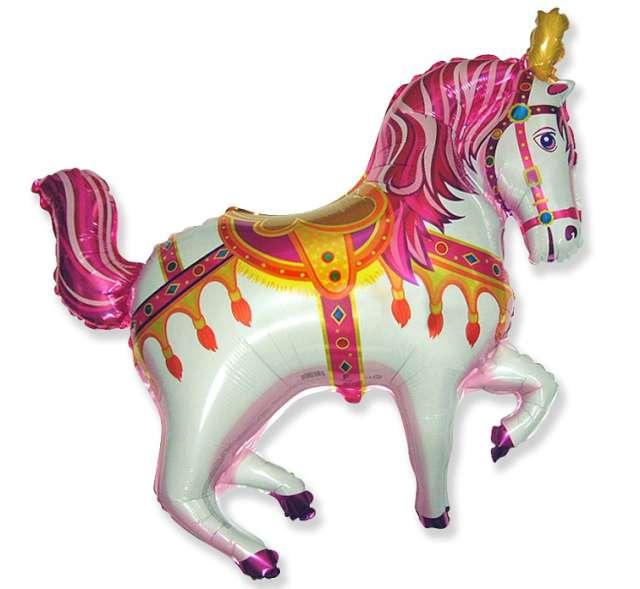 """Balon foliowy """"Koń cyrkowy jednorożec"""", różowy, FLEXMETAL, 39"""" SHP"""