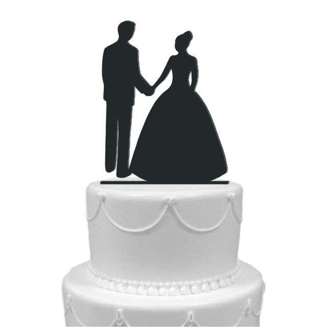 """Dekoracja na tort """"Para Młoda 1"""", czarna, 13 cm"""