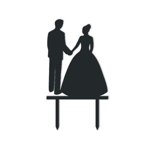 Dekoracja na tort Para Młoda 1 czarna 13 cm