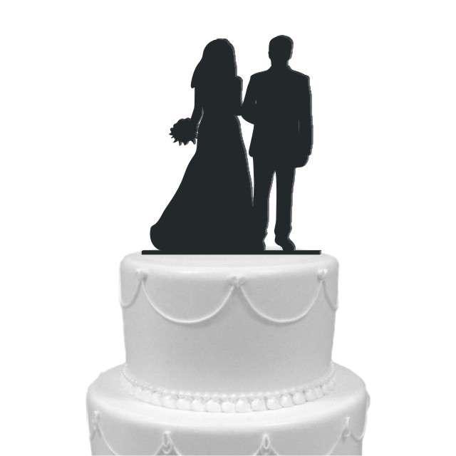 """Dekoracja na tort """"Para Młoda 4"""", czarna, 13 cm"""