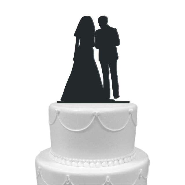 """Dekoracja na tort """"Para Młoda 6"""", czarna, 12,5 cm"""