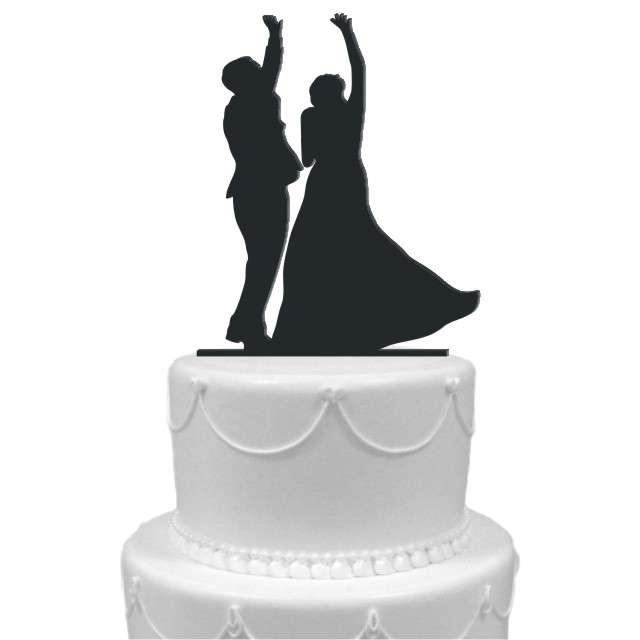 """Dekoracja na tort """"Para Młoda 7"""", czarna, 14 cm"""