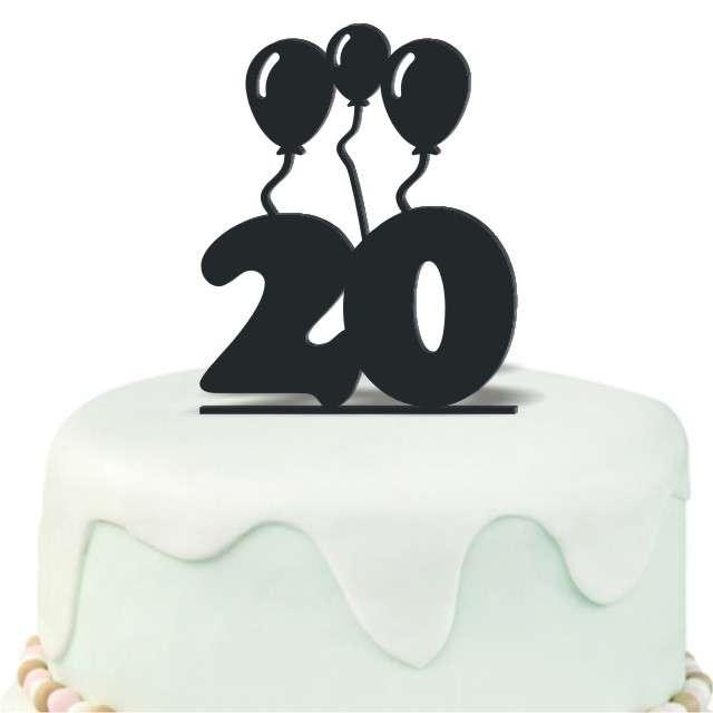 """Dekoracja na tort """"Urodziny 20"""", czarna, 12,5 cm"""