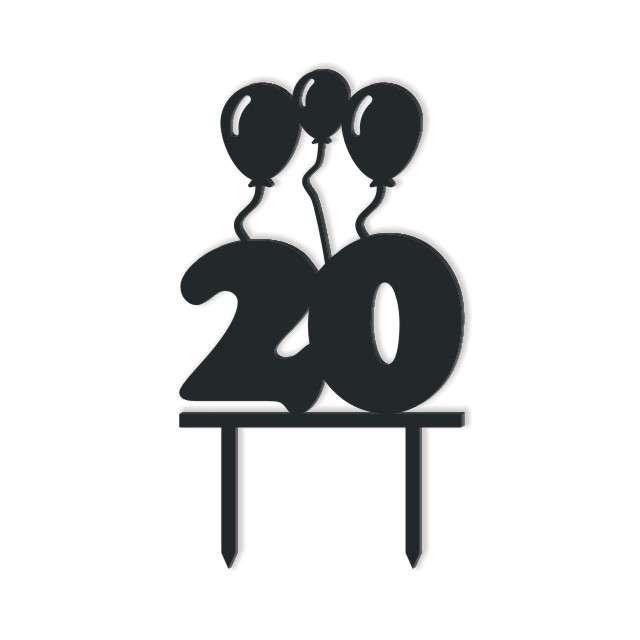 Dekoracja na tort Urodziny 20 czarna 125 cm