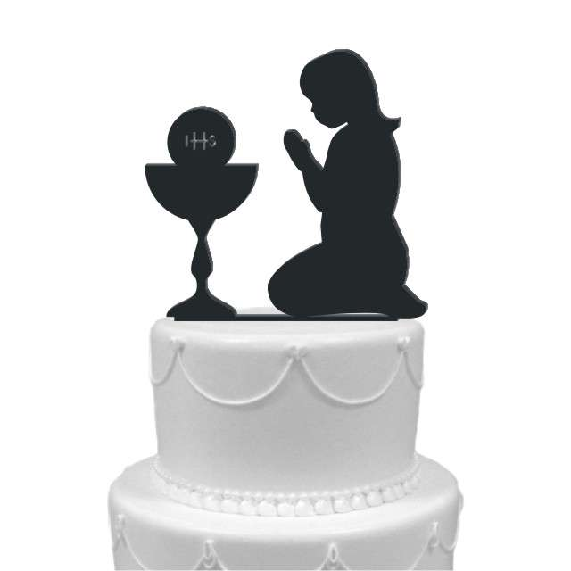 """Dekoracja na tort """"I Komunia Dziewczynka"""", czarna, 12 cm"""
