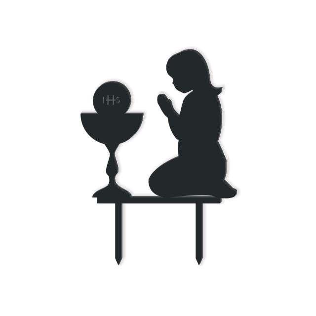 Dekoracja na tort I Komunia Dziewczynka czarna 12 cm