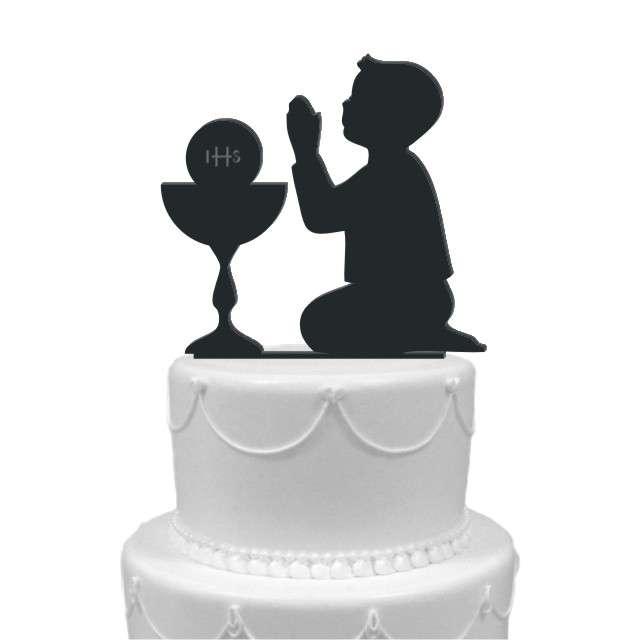 "Dekoracja na tort ""I Komunia Chłopiec"", czarna, 12 cm"