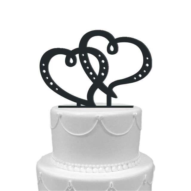 """Dekoracja na tort """"Dwa serca"""", czarna, 15 cm"""