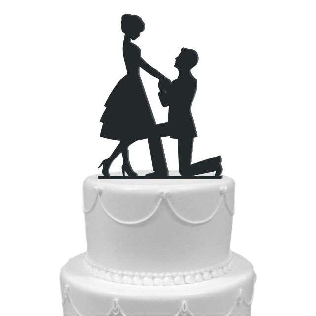 """Dekoracja na tort """"Para Młoda 8"""", czarna, 13,5 cm"""