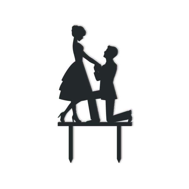 Dekoracja na tort Para Młoda 8 czarna 135 cm