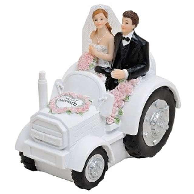 """Figurka na tort """"Para Młoda w białym traktorze"""", 12 cm"""