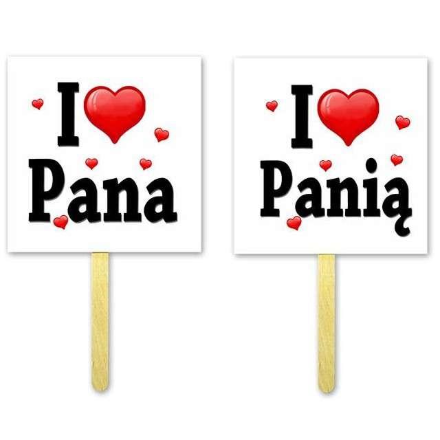 """Fotogadżet patyczki """"I LOVE Pana / Panią"""", 2 szt"""