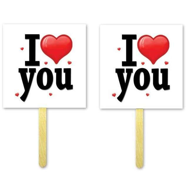 "Fotogadżet patyczki ""I Love (serce) You"", 2 szt"