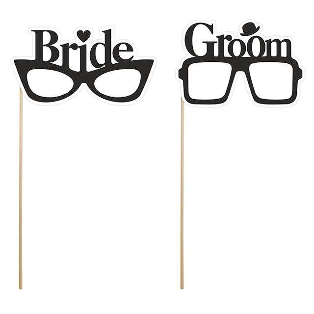 """Fotogadżet patyczki """"Okulary Bride & Groom"""", 2 szt"""