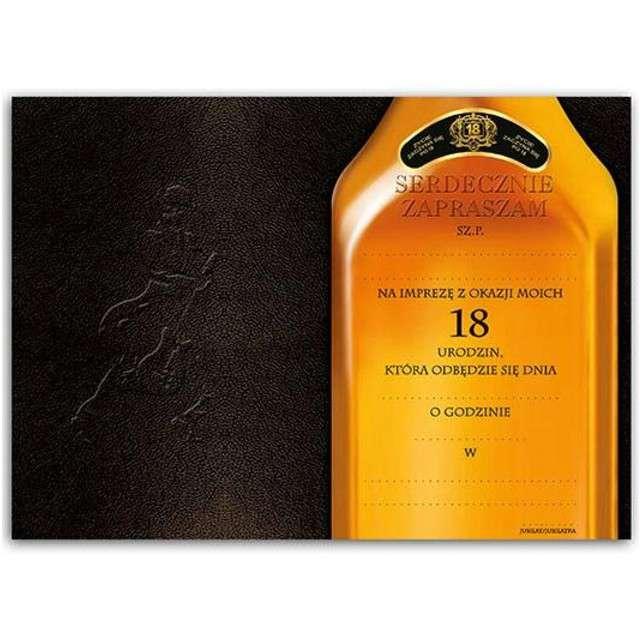 Zaproszenia z kopertą Urodziny 18 Johnnie 10 szt