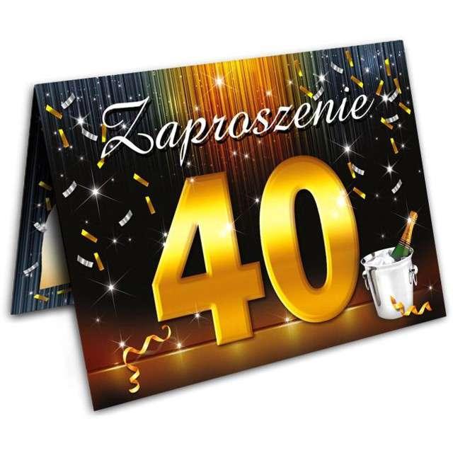 """Zaproszenia z kopertą """"Urodziny 40 szampan"""", 10 szt"""