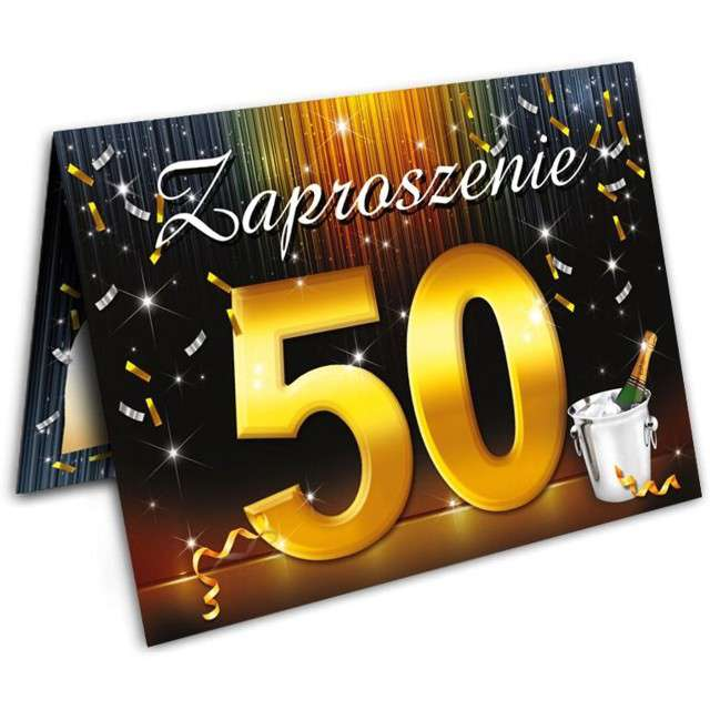"""Zaproszenia z kopertą """"Urodziny 50 szampan"""", 10 szt"""
