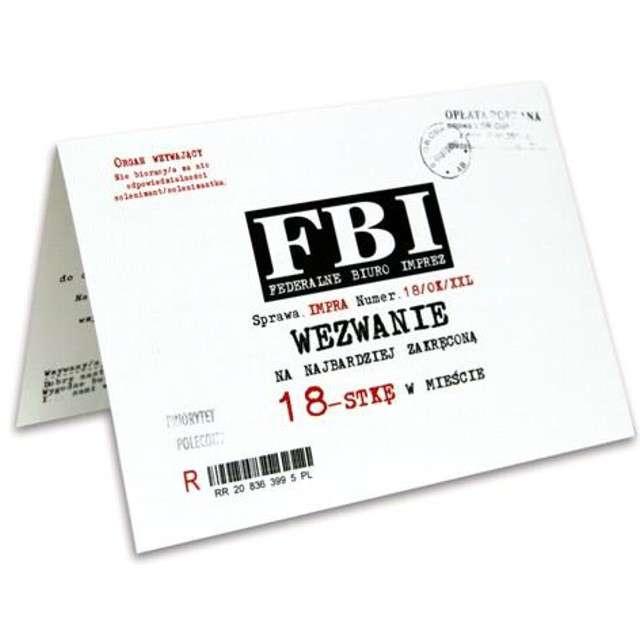 """Zaproszenia z kopertą """"Urodziny 18 wezwanie FBI"""", 10 szt"""