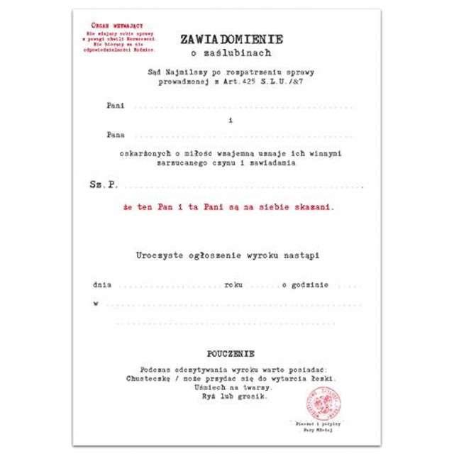 Zawiadomienie z kopertą Ślub 10 szt