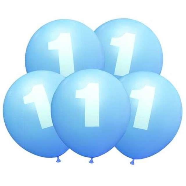 """Balony 12"""", """"Liczba  1"""", niebieskie, 5 szt"""