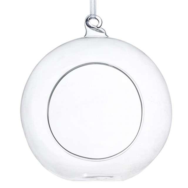 """Dekoracja szklana """"Kula ze wstążką"""", 10 cm, 4 szt"""