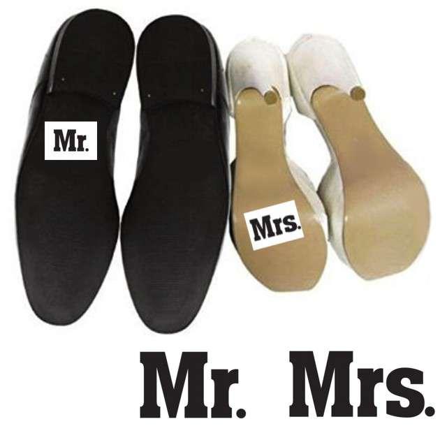 "Naklejki na buty ""Mr"" i ""Mrs"", 2 szt"